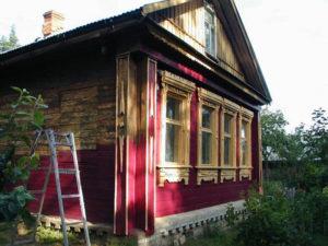до и после покраски старого деревянного дома