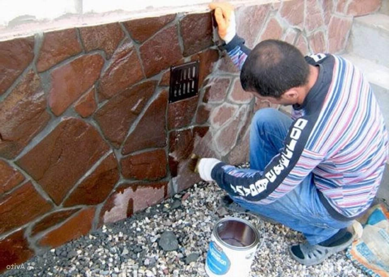 Покраска цоколя под камень