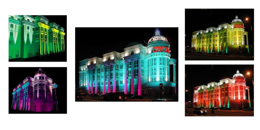 виды освещения фасадов зданий