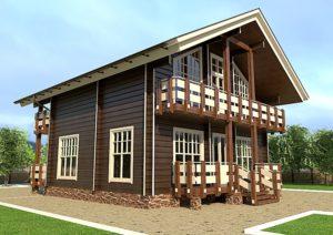 Покрашенный дом из клееного бруса