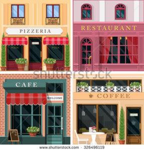 разные стили фасадов кафе